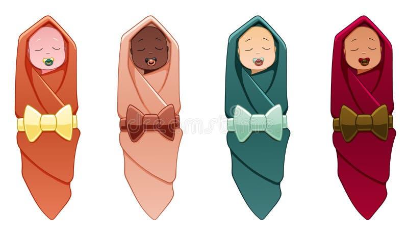 Bebês na envolver-roupa ilustração royalty free