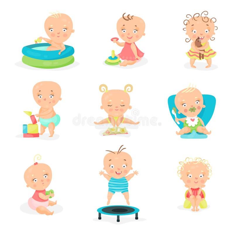Bebês pequenos bonitos e seu grupo diário da rotina Ilustrações de sorriso felizes do vetor dos rapazes pequenos e das meninas ilustração stock
