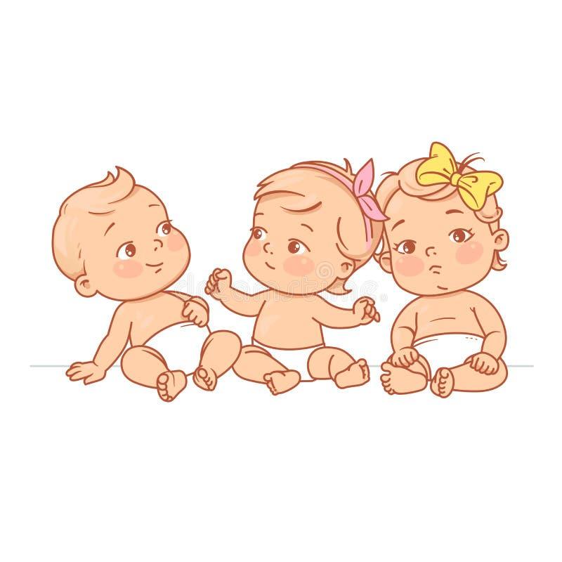 Bebês pequenos bonitos no tecido que senta-se junto ilustração stock
