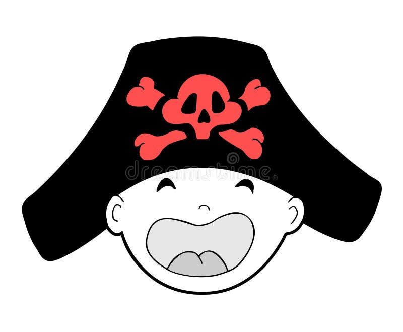 Beb? com chap?u do pirata ilustração royalty free