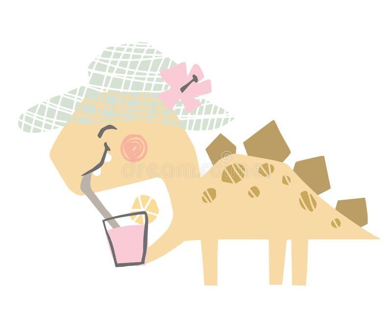 Beb? del dinosaurio con la impresi?n linda del coctail Jugo dulce del dreank de Dino fotografía de archivo libre de regalías