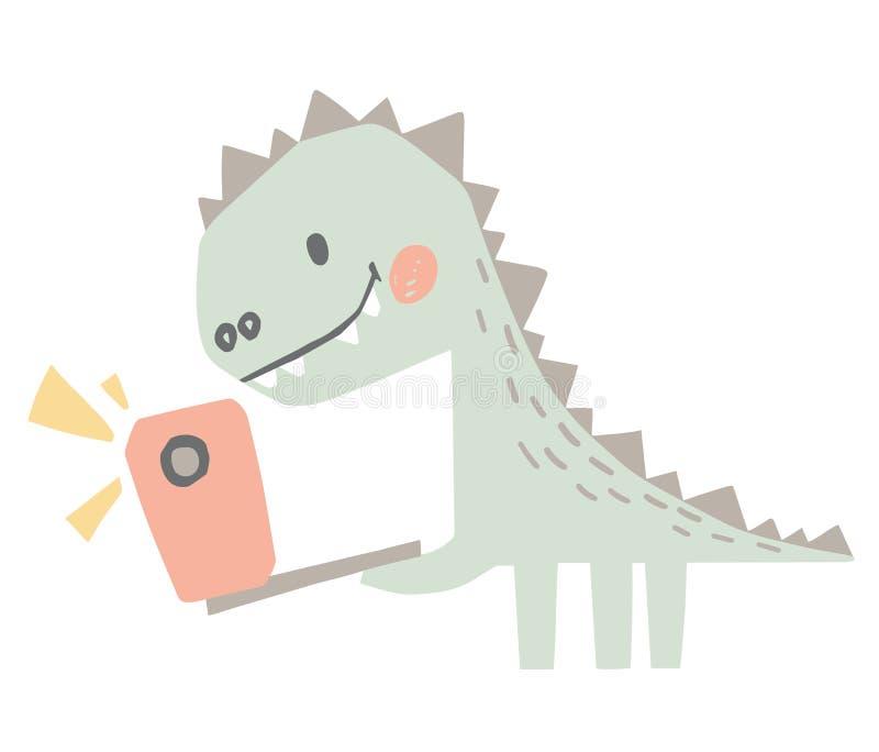 Beb? del dinosaurio con la impresi?n linda del tel?fono Dino dulce hace un selfie imagen de archivo