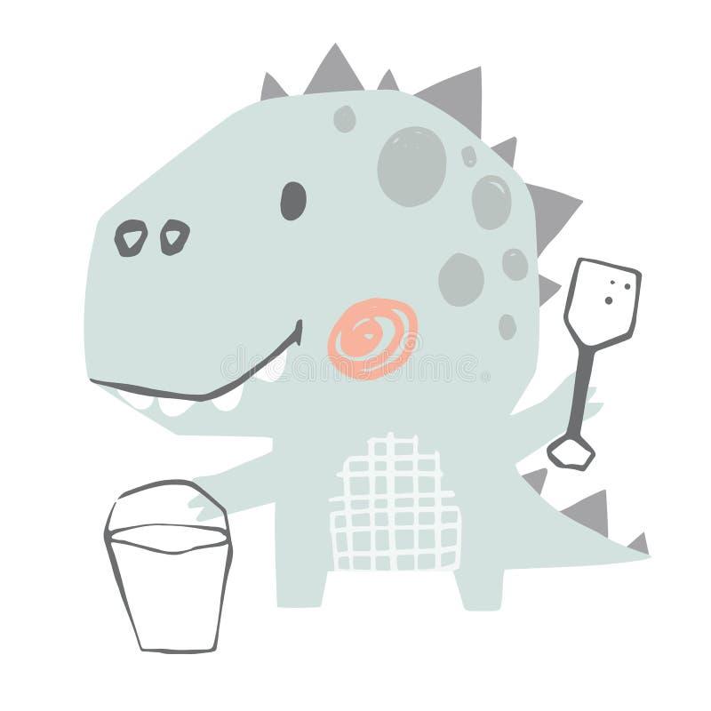 Beb? del dinosaurio lindo con la impresi?n de la esp?tula Dino dulce construye un castillo de la arena Verano imágenes de archivo libres de regalías