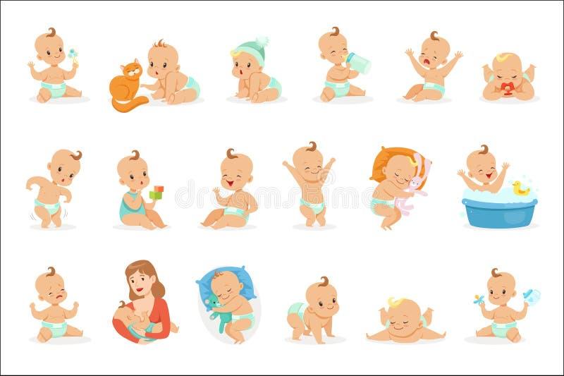 Beb? feliz ador?vel e sua s?rie rotineira di?ria de ilustra??es bonitos da inf?ncia e do infante dos desenhos animados ilustração stock