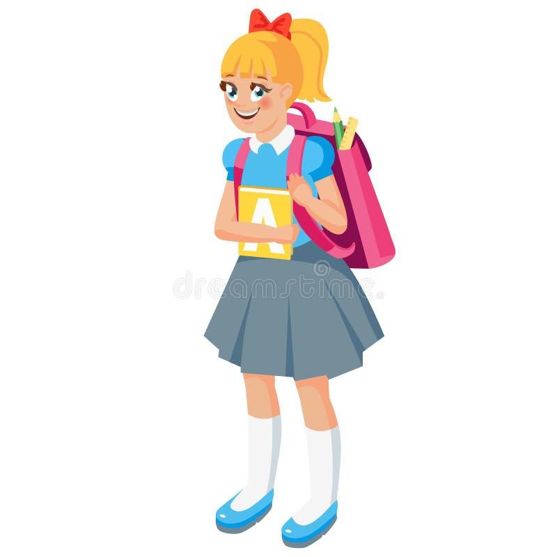 Beb? girl Criança ereta bonito com trouxa e livro de texto Ilustra??o do vetor do estilo dos desenhos animados ilustração do vetor