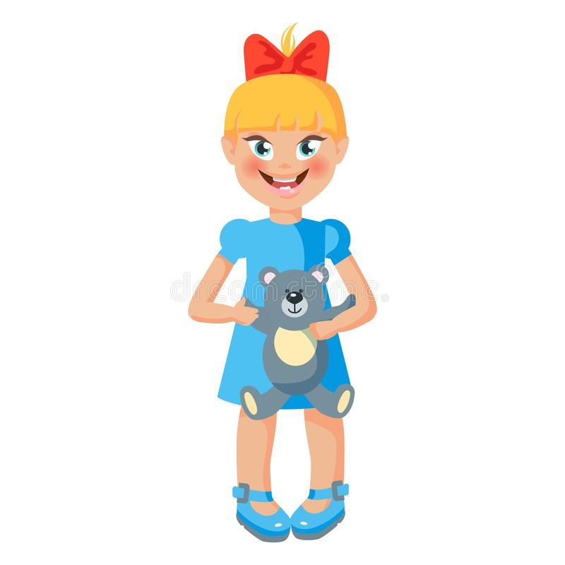 Beb? girl Niño derecho lindo con el oso de peluche Ejemplo del vector del estilo de la historieta stock de ilustración