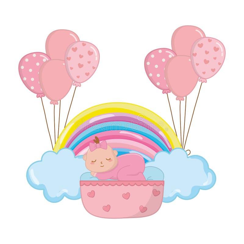Beb? que dorme em um ber?o ilustração royalty free