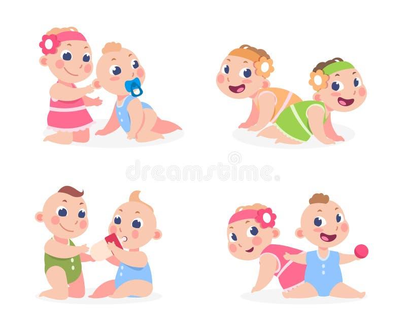 Beb?s de la historieta Muchacho divertido y muchacha reci?n nacida que se sientan junto, gemelos lindos hermana y hermano Ni?os f libre illustration