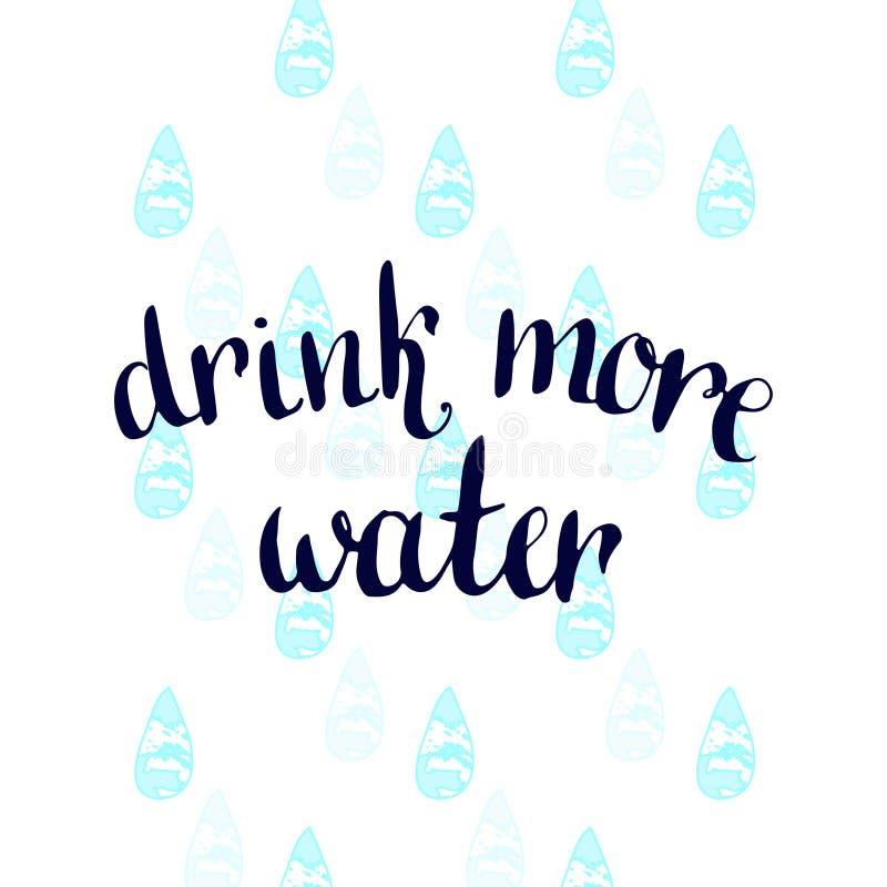 Beba más agua Cartel manuscrito de la motivación del vector stock de ilustración