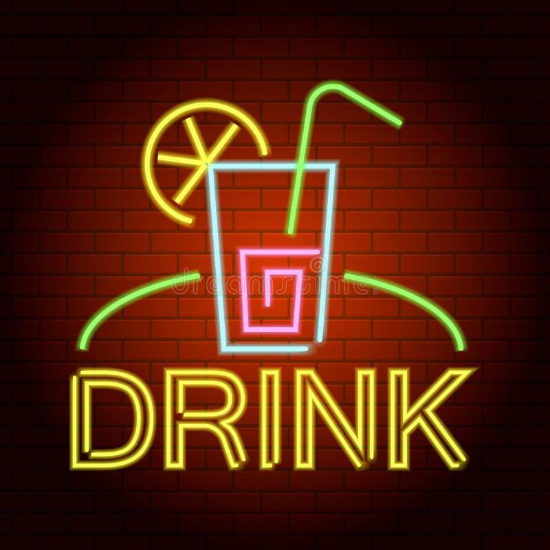 Beba o ícone da luz de néon do logotipo, estilo realístico ilustração royalty free
