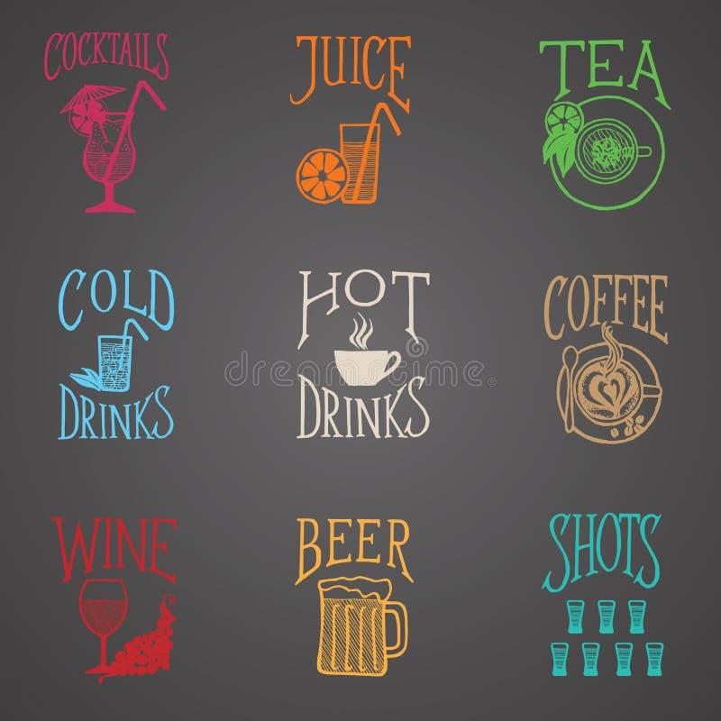 Bebe ícones do menu - estilo do Latino ilustração do vetor