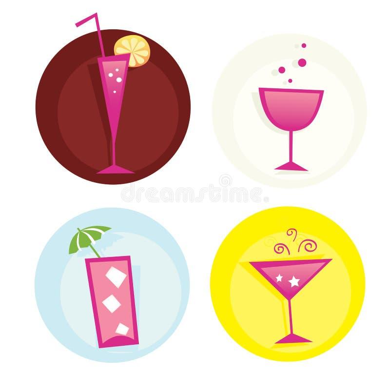 Bebe el iconset. Mezcla de bebidas calientes del verano. VECTOR. ilustración del vector