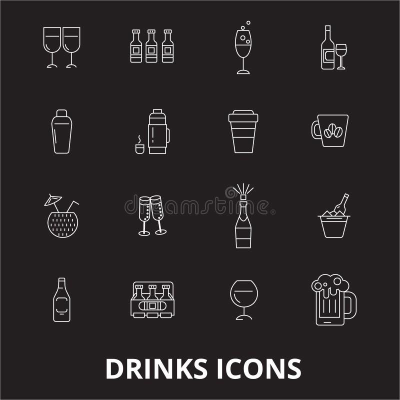 Bebe a linha editável grupo do vetor dos ícones no fundo preto Bebe as ilustrações brancas do esboço, sinais, símbolos ilustração royalty free