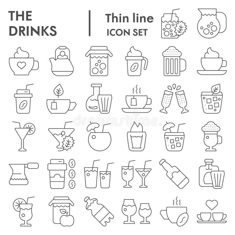 Bebe a linha fina grupo do ícone, símbolos coleção da bebida, esboços do vetor, ilustrações do logotipo, sinais líquidos lineares ilustração royalty free