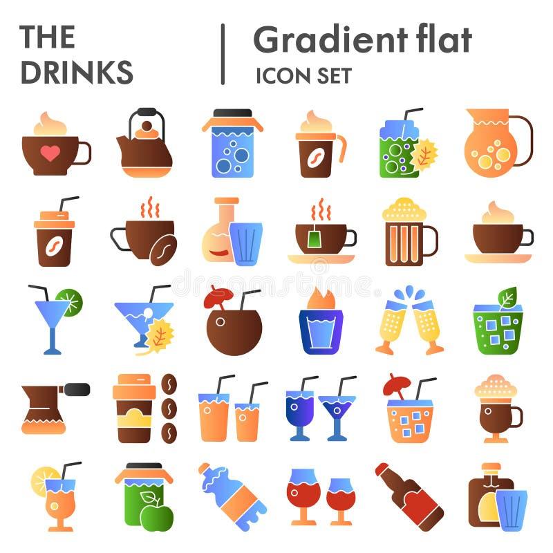 Bebe o grupo liso do ícone, símbolos coleção da bebida, esboços do vetor, ilustrações do logotipo, inclinação líquido da cor dos  ilustração do vetor