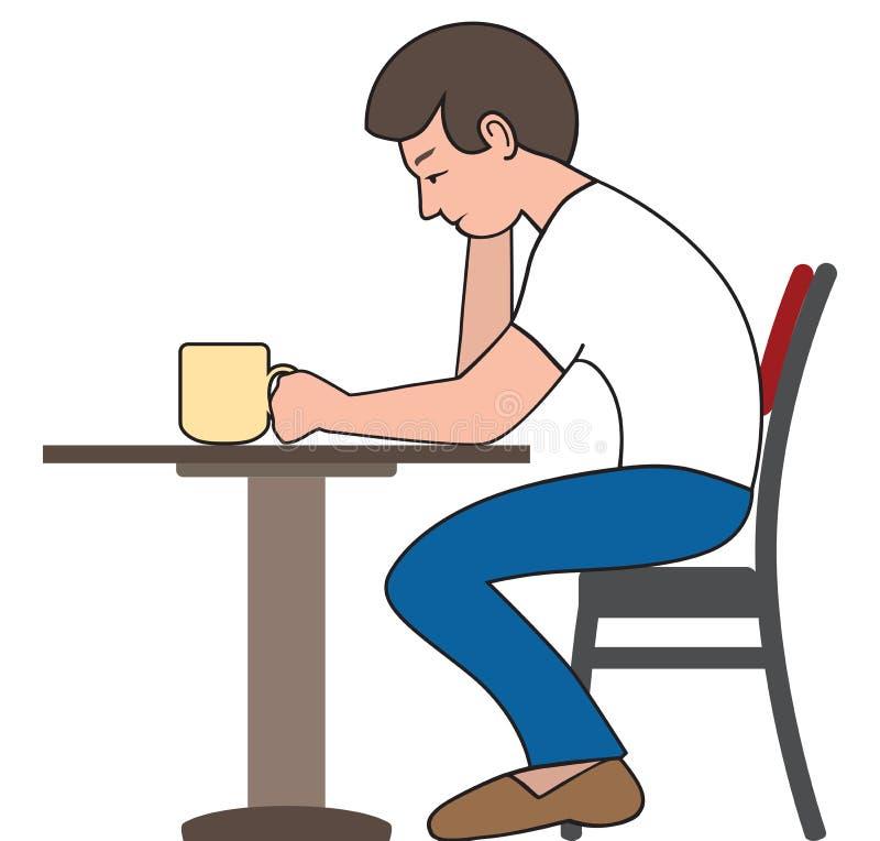 Bebedor cansado del café libre illustration