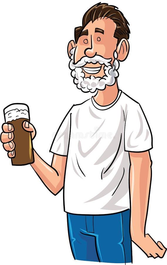 Bebedor de cerveja dos desenhos animados com barba de Santa ilustração royalty free