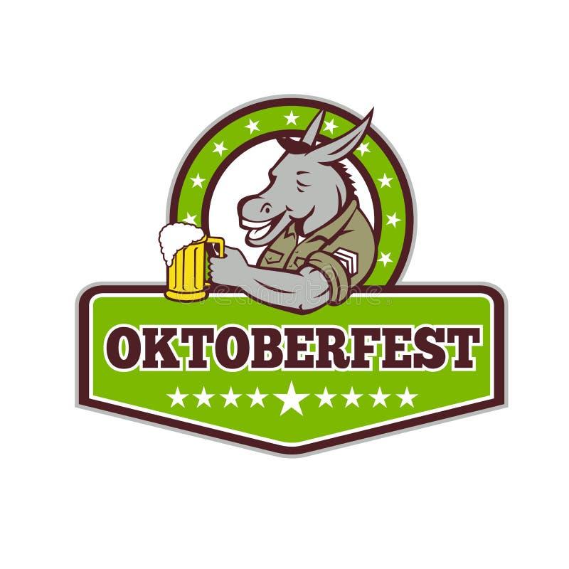 Bebedor de cerveza del burro Oktoberfest retro ilustración del vector