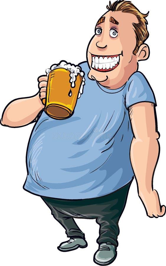 Bebedor de cerveza gordo de la historieta ilustración del vector