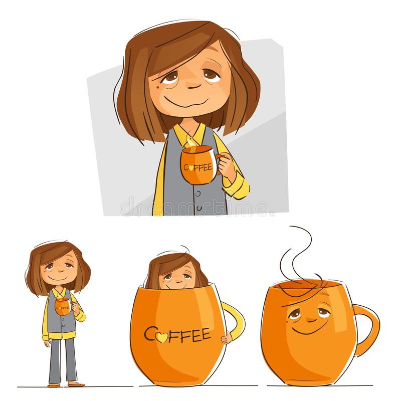 Bebedor profesional del café ilustración del vector