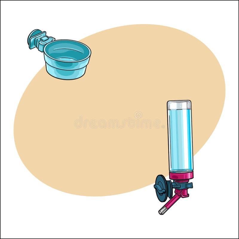 Bebedor recargable automático, cuenco plástico para el animal doméstico, jaula del loro, cajón libre illustration