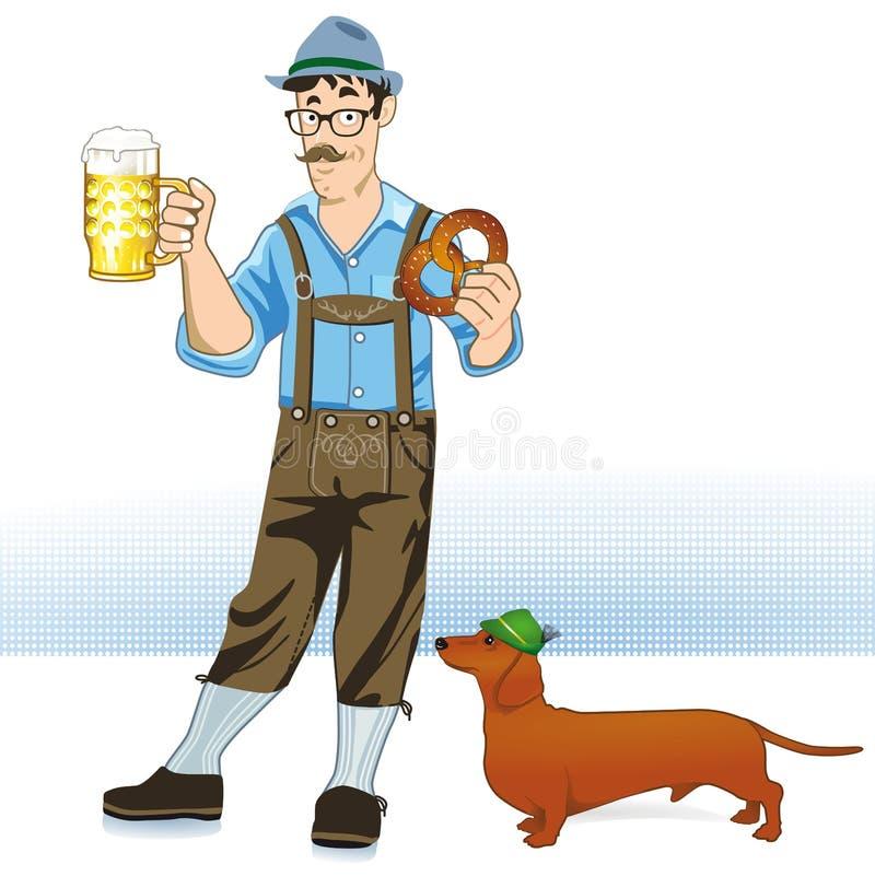 Bebedor y perro de cerveza stock de ilustración