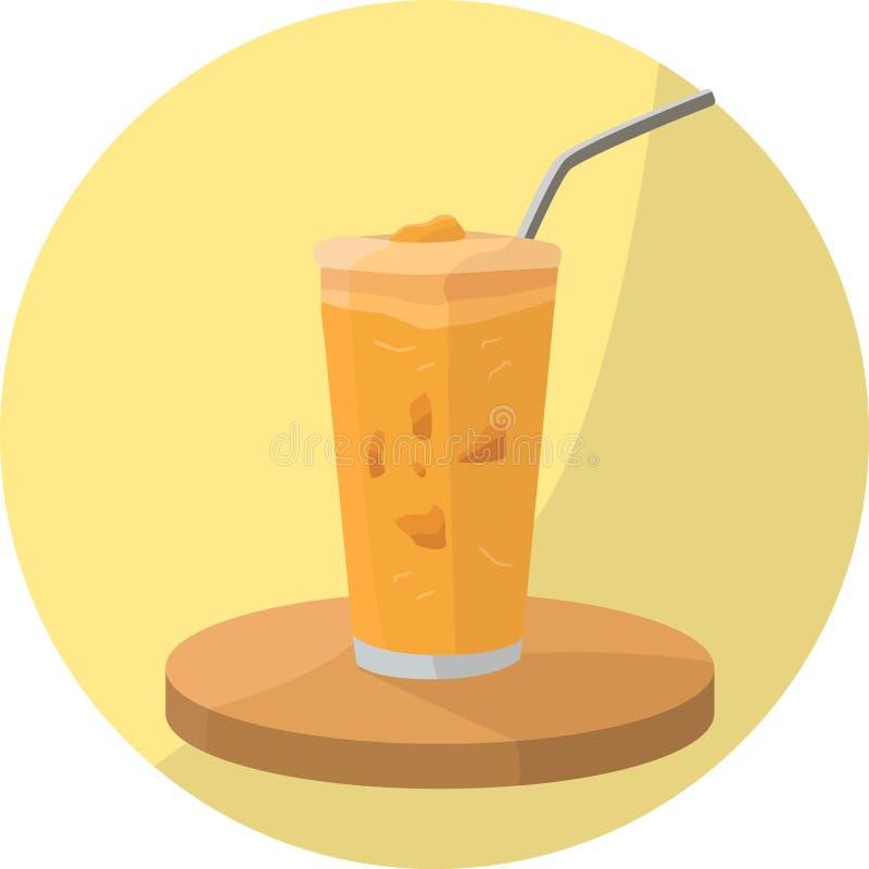 Bebida alaranjada do batido com coberturas ilustração stock