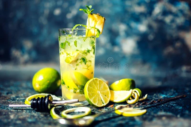 Bebida alcohólica del cóctel en la barra o el pub El cóctel de la ginebra y de la cal con la piña y el hielo sirvió frío del cama foto de archivo libre de regalías