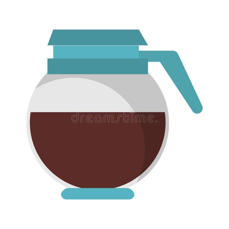 Bebida caliente completa del pote del caf? aislada stock de ilustración