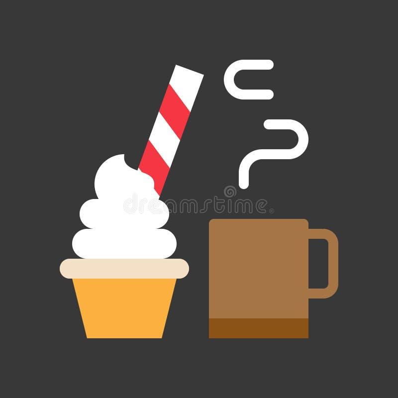 Bebida caliente del cacao y torta de la taza adornada con el caramelo para la Navidad ilustración del vector