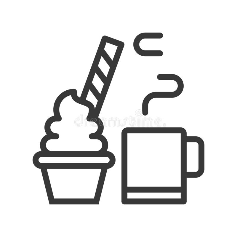 Bebida caliente del cacao y torta de la taza adornada con el caramelo para la Navidad libre illustration