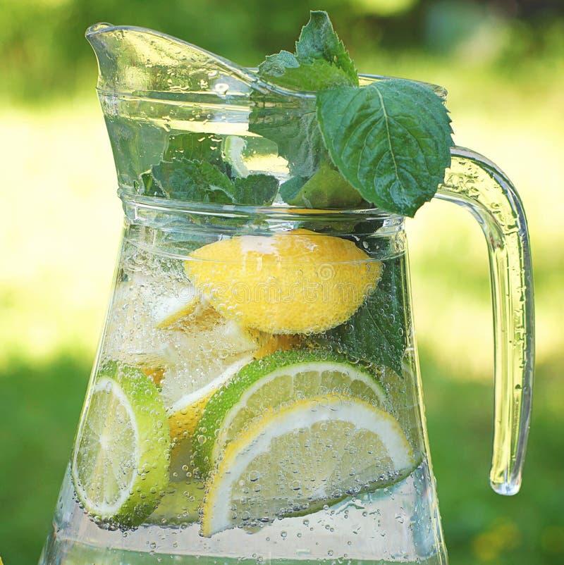 Bebida carbonatada con el limón, la cal y la menta naturales en una jarra imagen de archivo libre de regalías