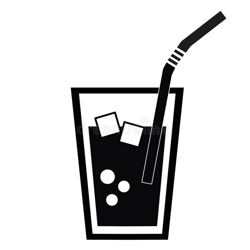 bebida Cola com gelo Refresco ícone ilustração royalty free
