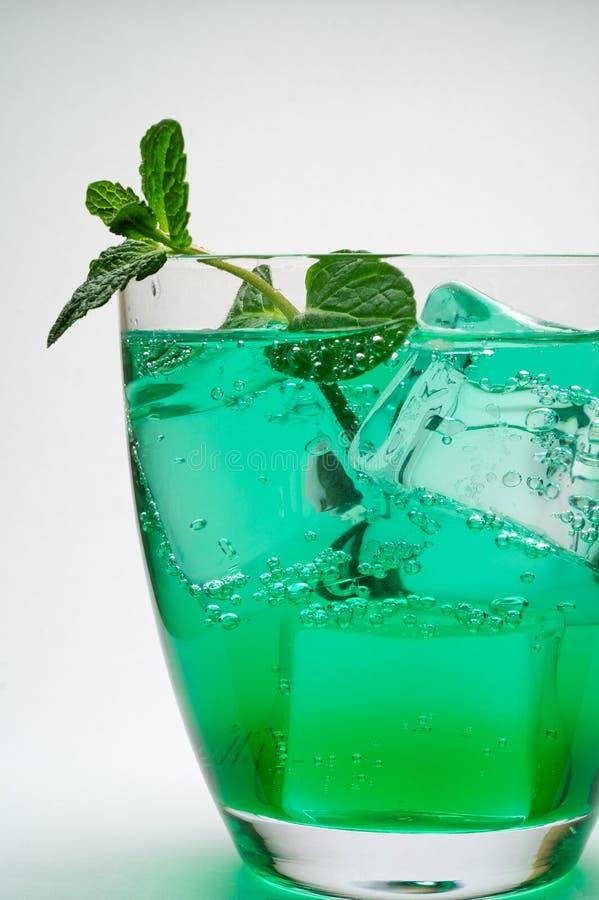 Bebida com cubos e hortelã de gelo fotos de stock royalty free