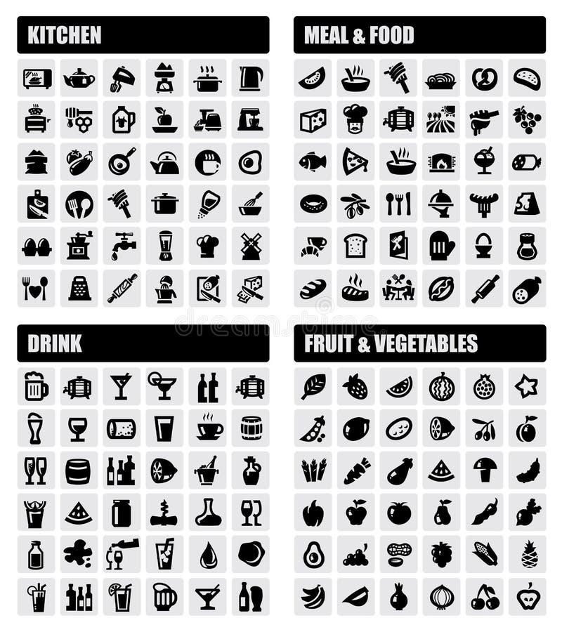 Bebida, comida, iconos de la cocina libre illustration