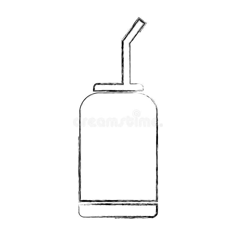 Bebida conservada con la paja ilustración del vector