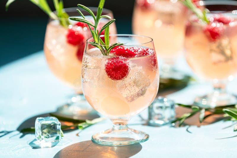 Bebida cor-de-rosa com gelo Cocktail bem-vindo frio do verão foto de stock royalty free