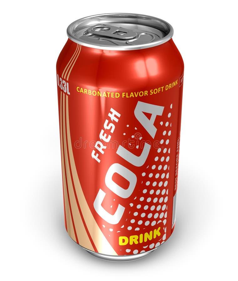 Bebida da cola na lata do metal ilustração royalty free