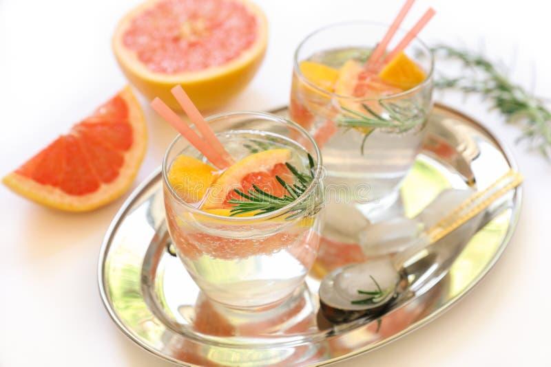 Bebida da desintoxicação com toranja, alecrins e gelo imagens de stock