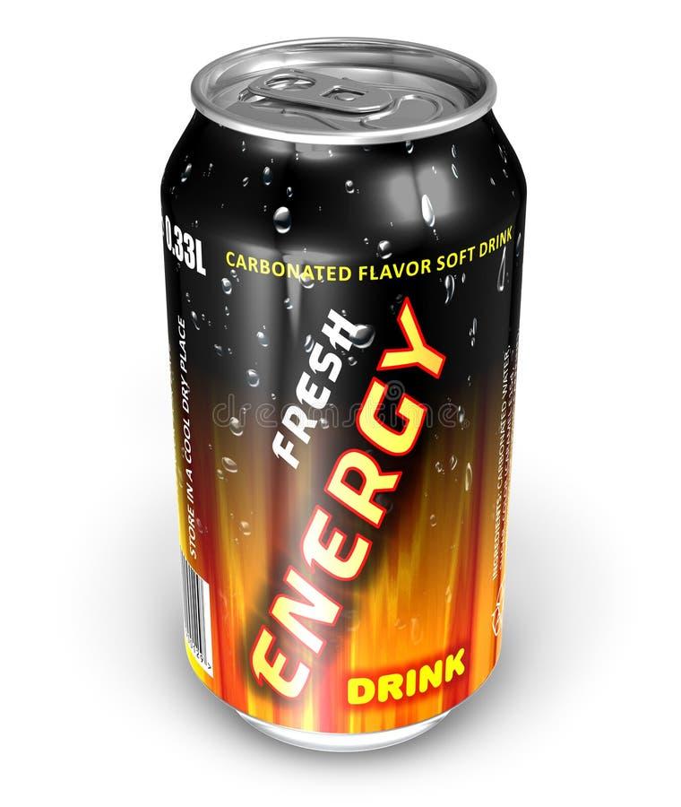 Bebida da energia na lata do metal ilustração do vetor