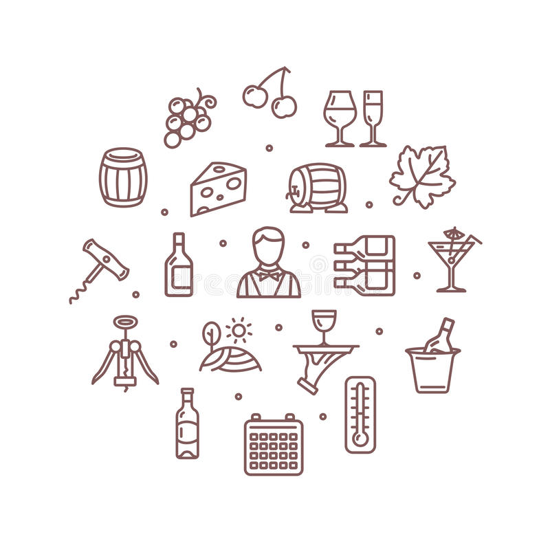 Bebida da fatura de vinho molde redondo do projeto linha fina ícone Vetor ilustração stock