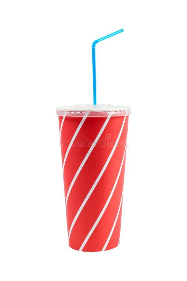Bebida da soda com palha azul fotos de stock royalty free