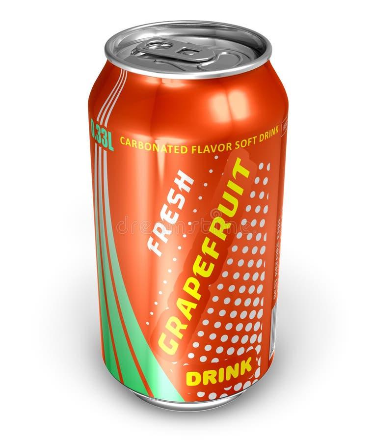 Bebida da soda da pamplumossa na lata do metal ilustração royalty free