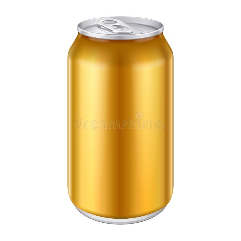 A bebida de alumínio da bebida do metal alaranjado amarelo do bronze do ouro pode 500ml Apronte para seu projeto Embalagem do pro ilustração royalty free
