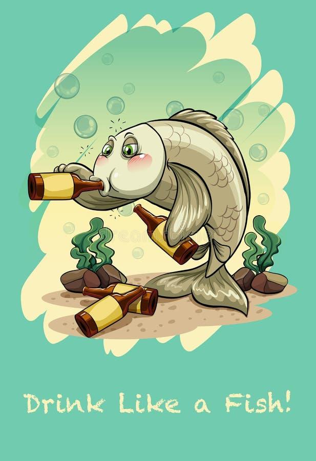 Bebida De La Frase Hecha Como Un Pescado Ilustración Del