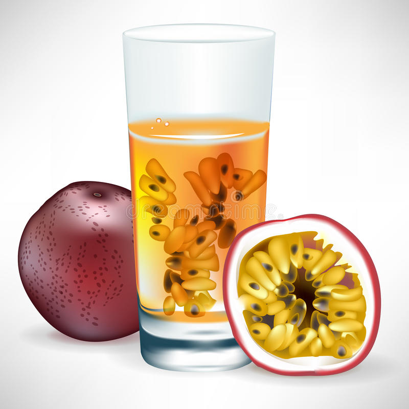 Bebida de la fruta de pasión con la fruta y la rebanada libre illustration