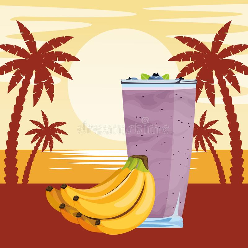 Bebida de la fruta tropical y del smoothie libre illustration