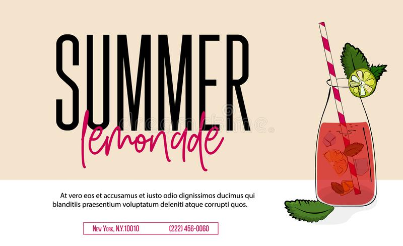 Bebida de la limonada de la publicidad rosada del agua de soda Hojas del limón y de menta del vector en tarro con el líquido fres stock de ilustración