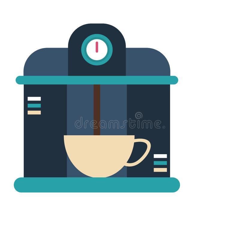 Bebida de la porción de la máquina de café express del café en taza ilustración del vector