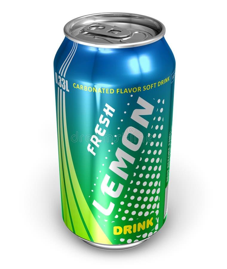 Bebida de la soda del limón en poder del metal ilustración del vector
